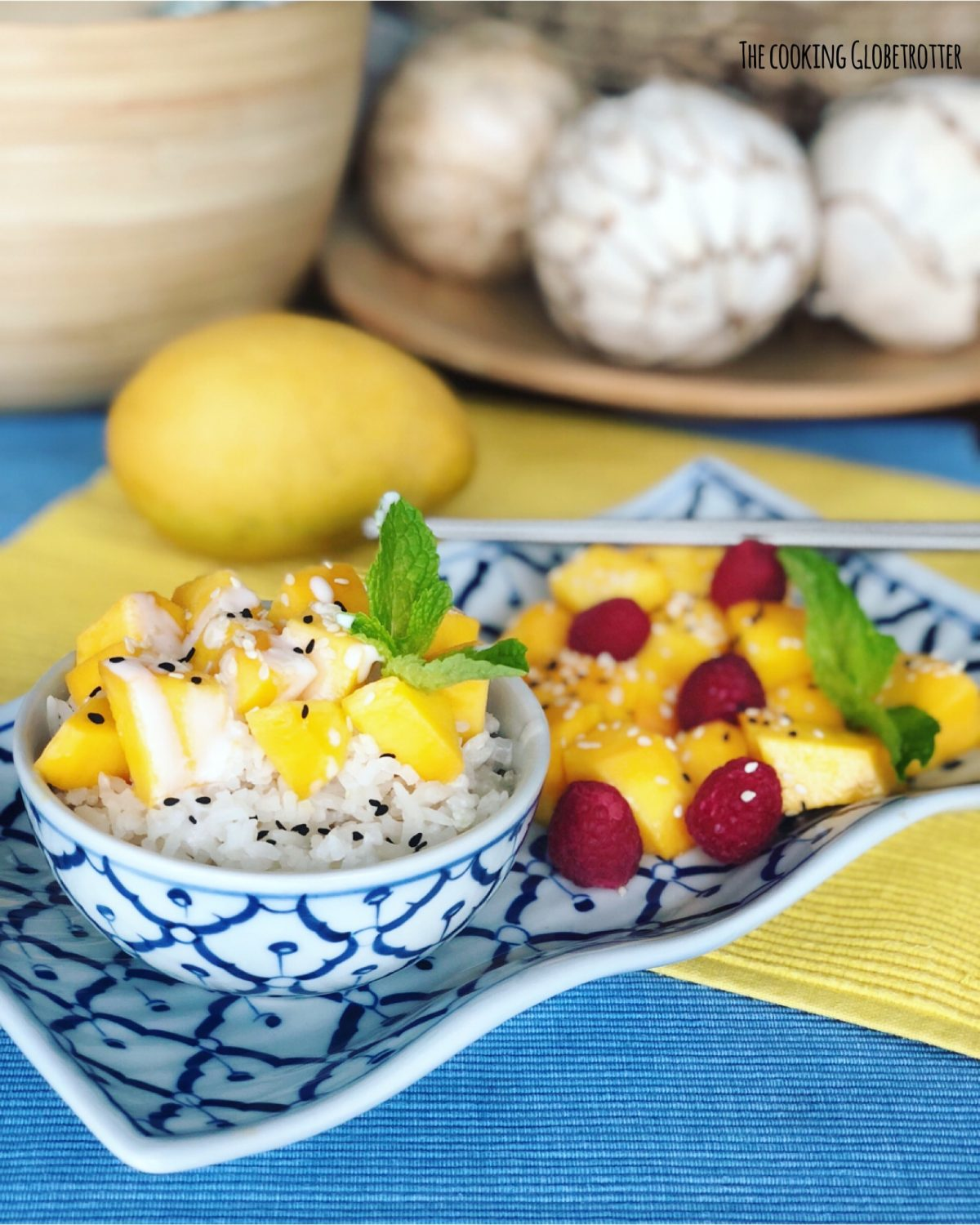 Index Featured Thai Mango Sticky rice, a simple dessert or snack that you can enjoy at home too. This easy and quick recipe will take you on a culinary journey to Thailand