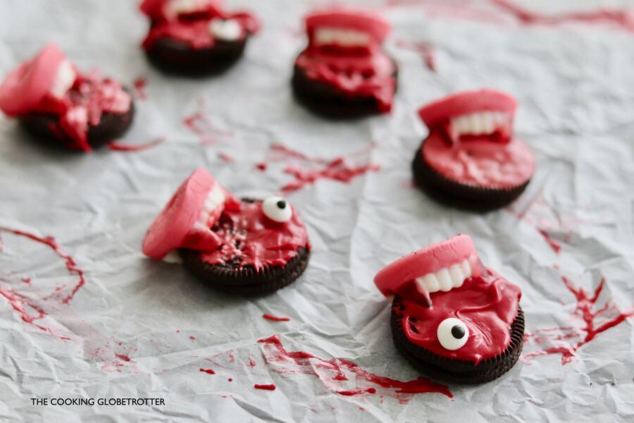 Close Vampire bites halloween Oreo cookies