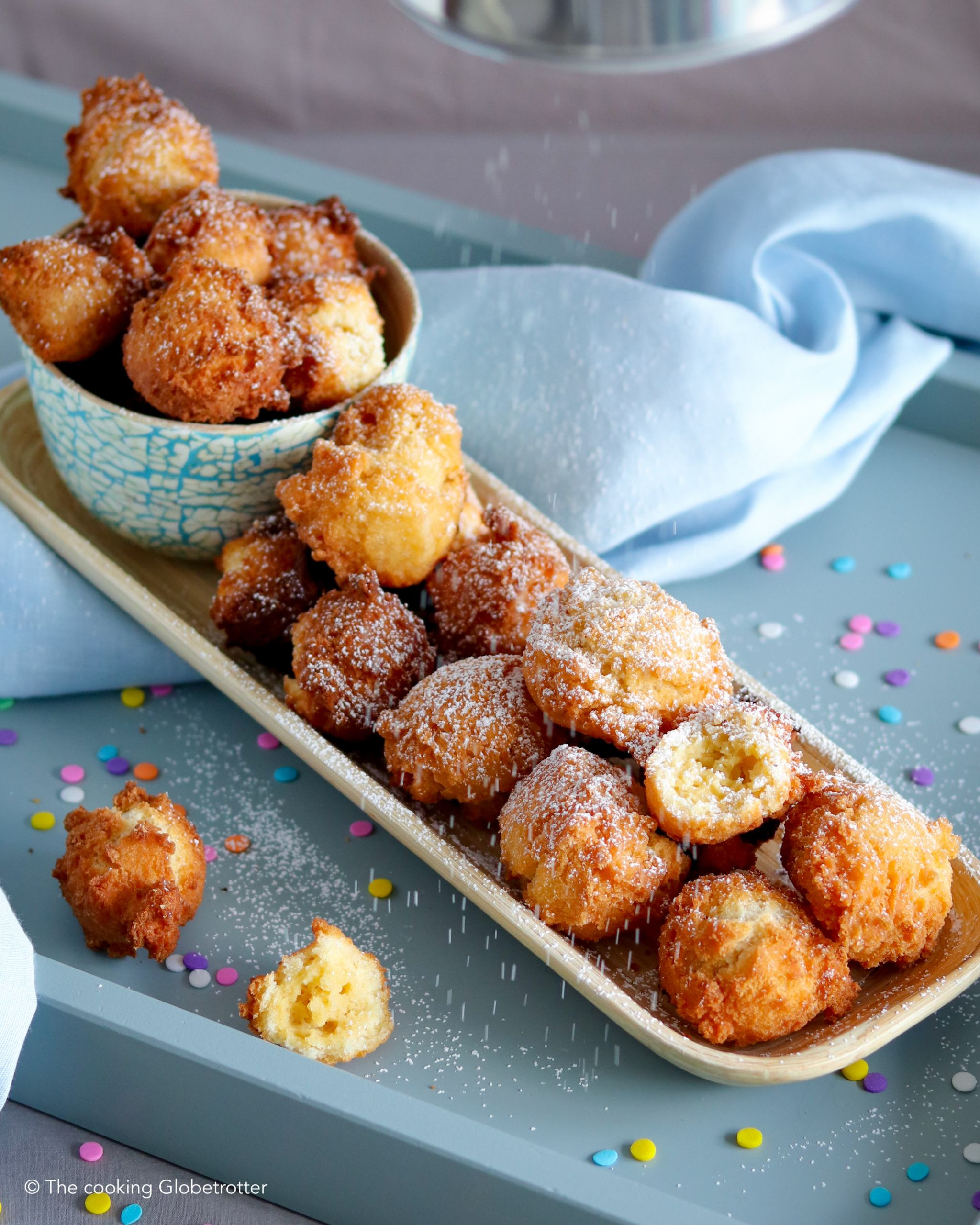Main Italian Castagnole, Frappe, Strufoli fritters carnival fried dough sweets Italy recipe
