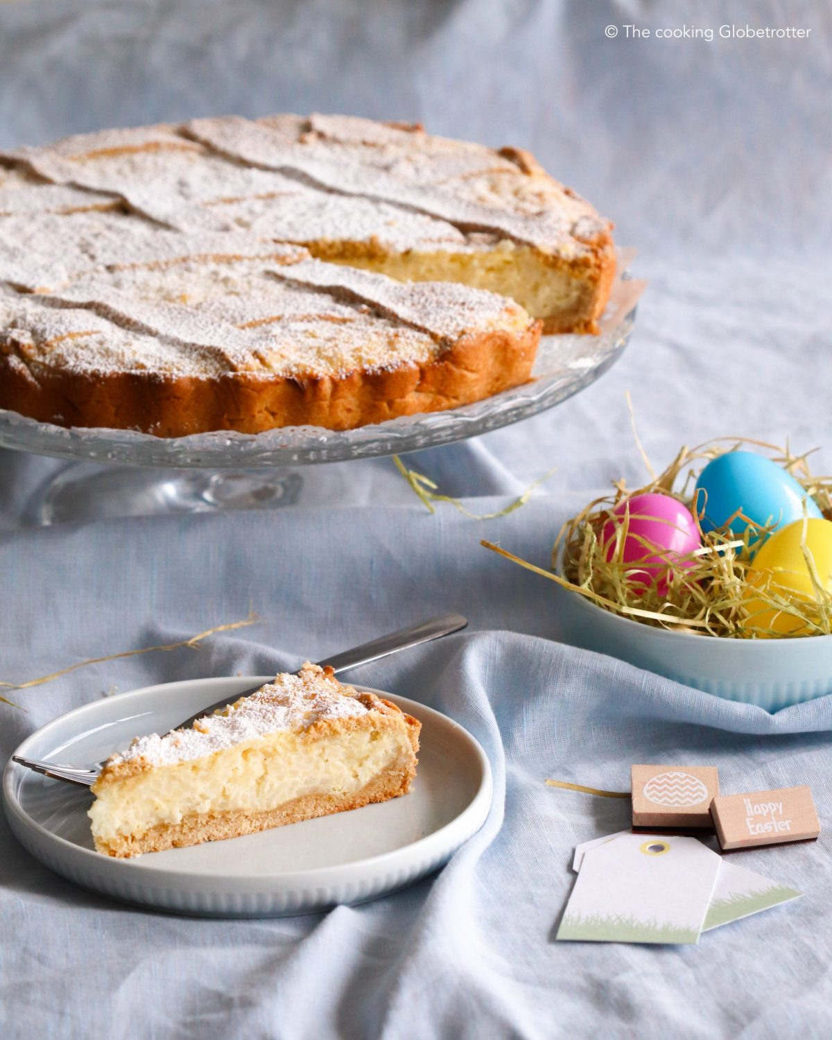 Main Pastiera di riso rice pudding pastry for Easter Napoli Italian from Italy original easy version recipe with rice pudding for the whole family and your Easter Brunch or Lunch perfect cake