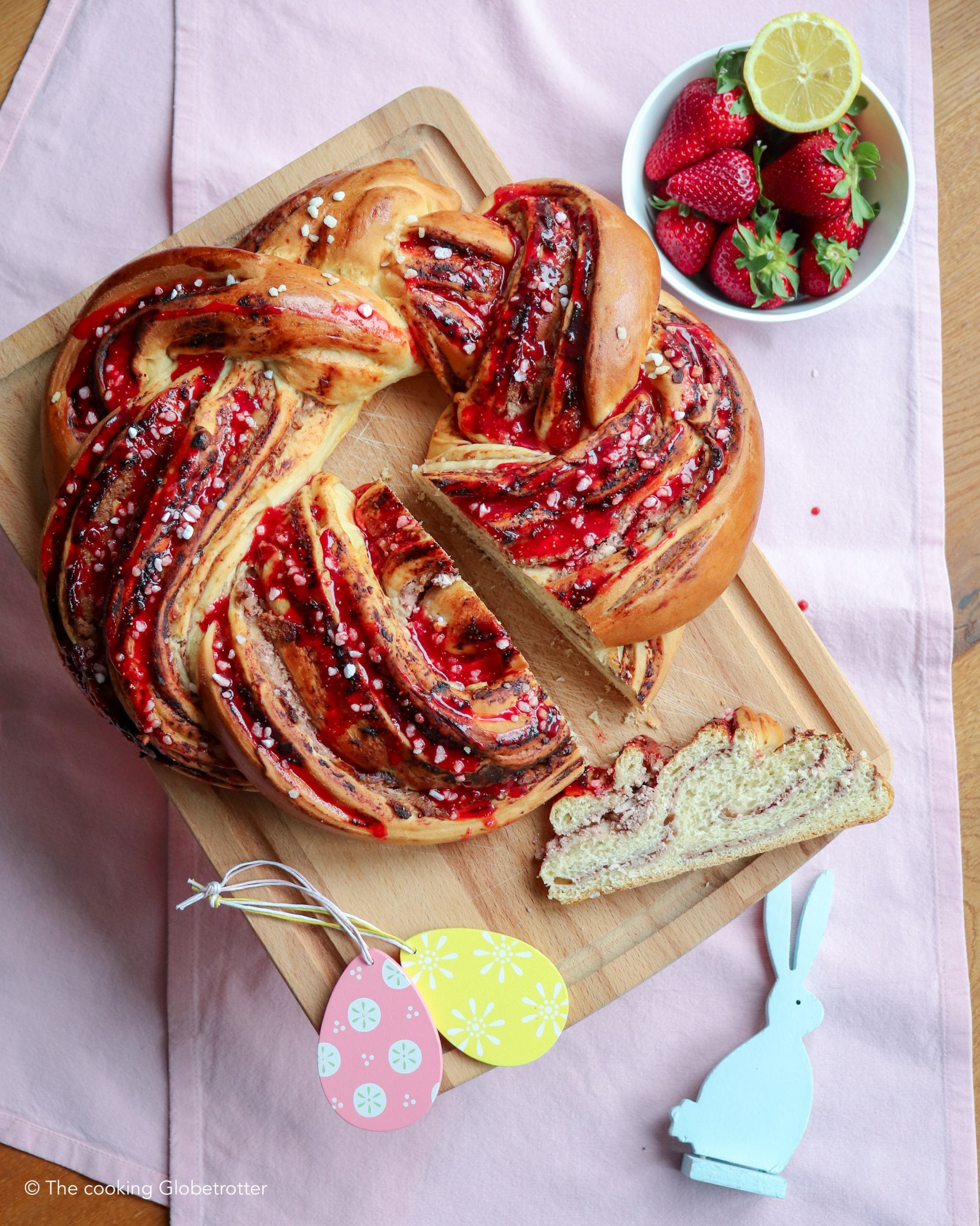 Index Austrian bread with cheese filling Krainz braided bread topfen cheese easter recipe