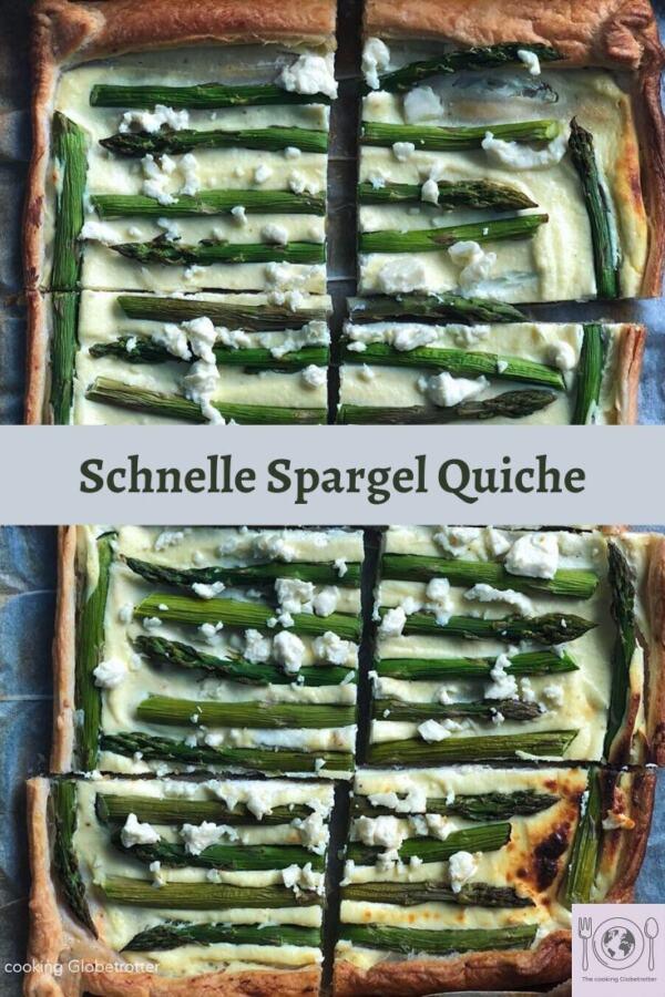 Pinterest Pin Spargel quiche einfach schnell tarte Blätterteig saisonal fest party essen snack unkompliziert Rezept