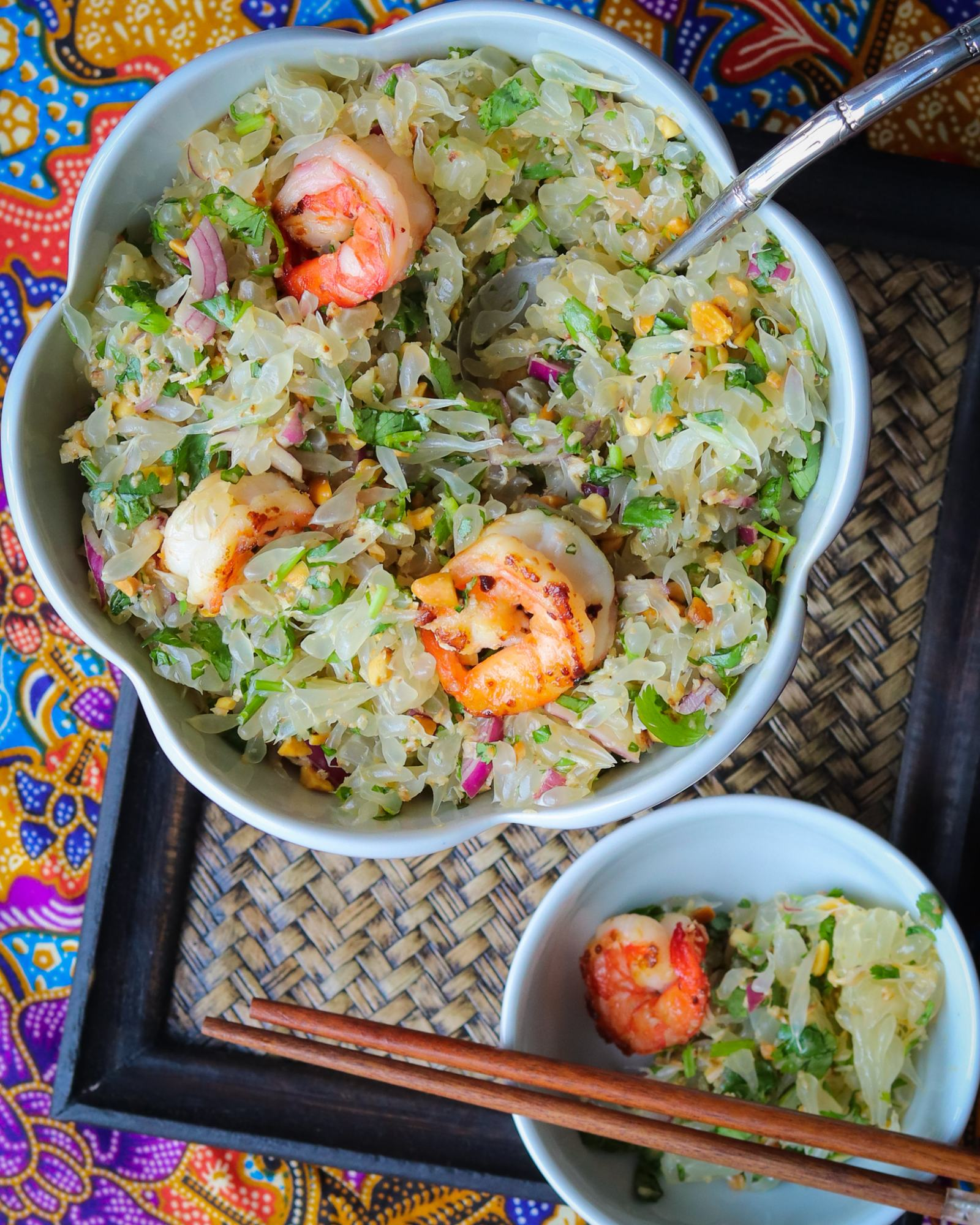 Thai Pomelo Salad with Chili Prawns from Laura The cooking Globetrotter