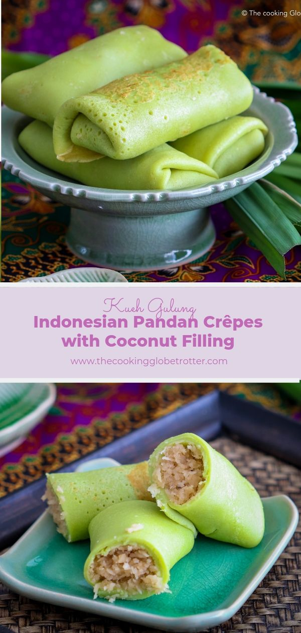 A traditional Indonesian and Malaysian dessert, rolled crepes, flavoured with pandan juice and stuffed with coconut caramelized in palm sugar