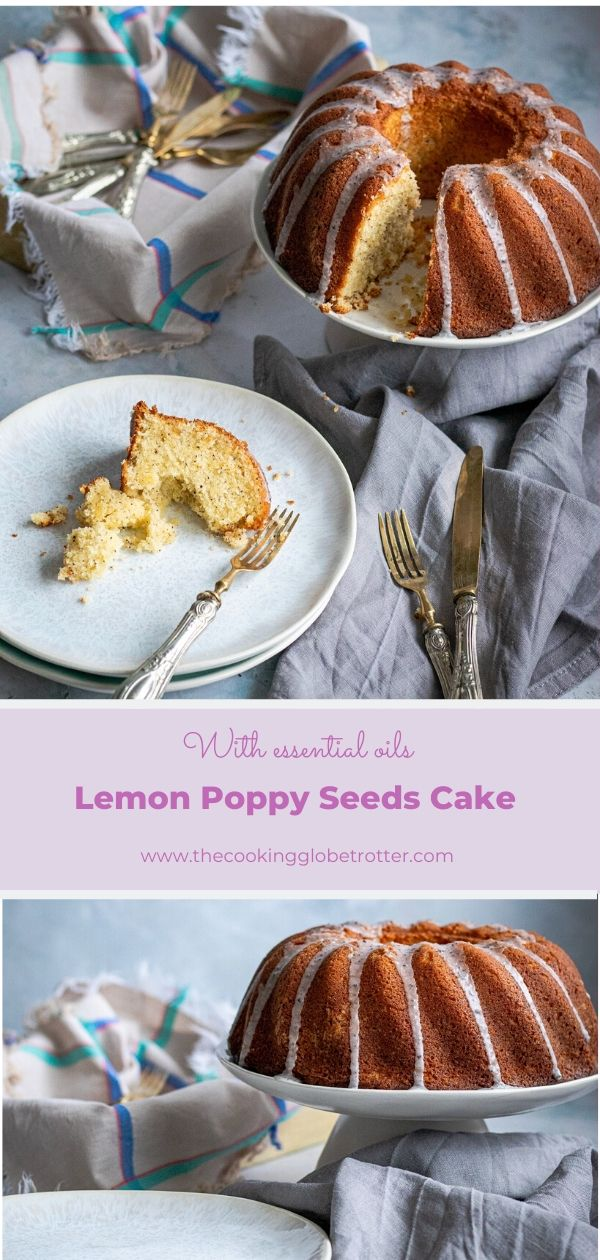 Pin lemon poppy seeds cake essential oils glaze Guglhupf recipe zoner