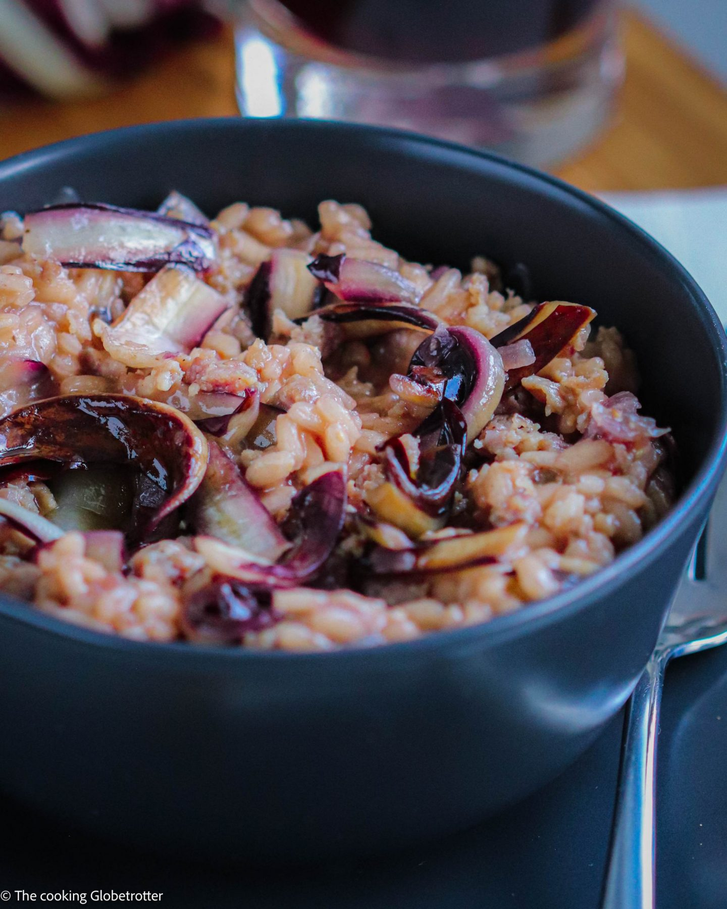 cooked one pot risotto italian Italy original recipe radicchio salad first course main dinner traditional scamorza cheese salsiccia italian sausage seasonal blogger food