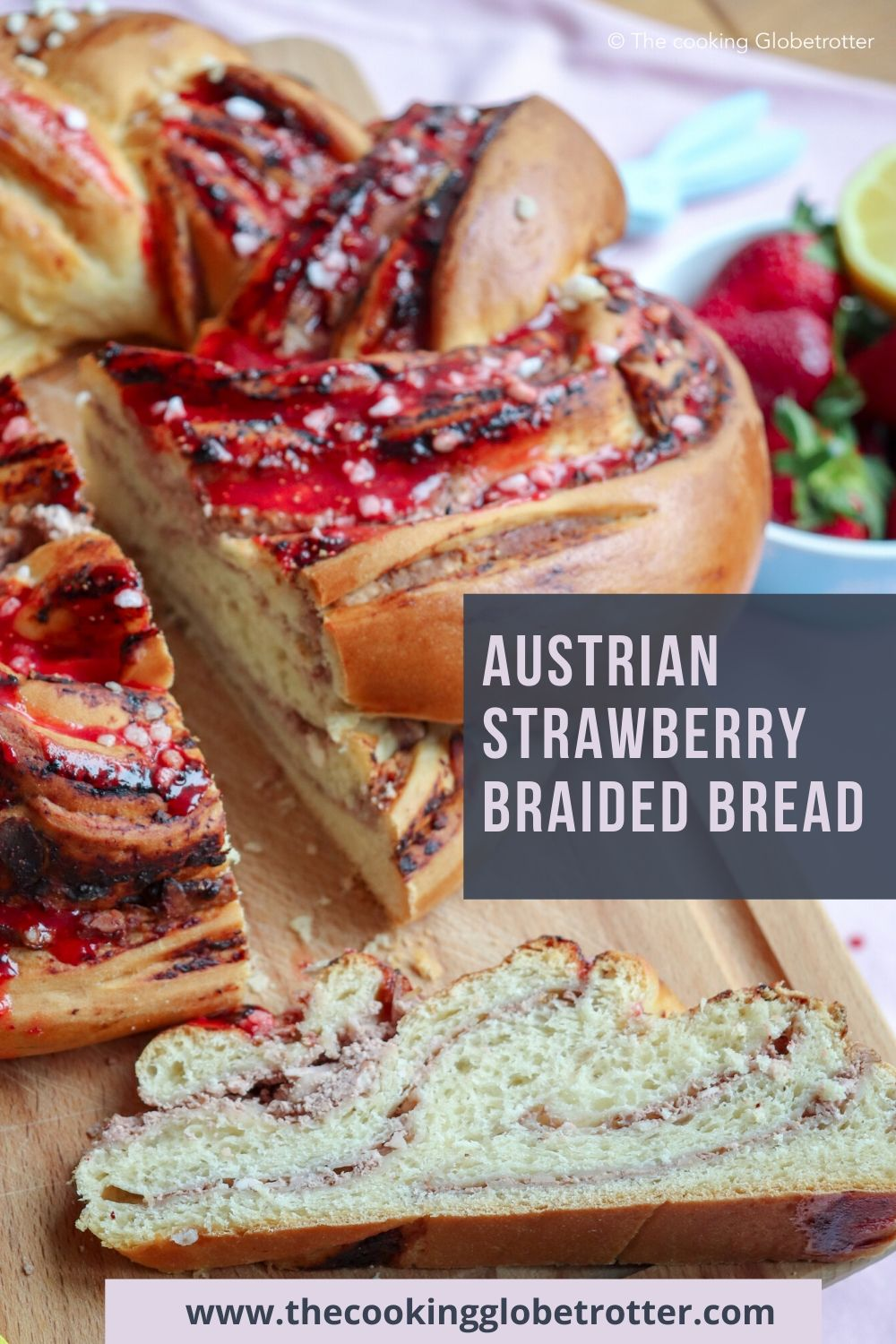 Austrian bread with cheese filling Krainz braided bread topfen cheese easter recipe