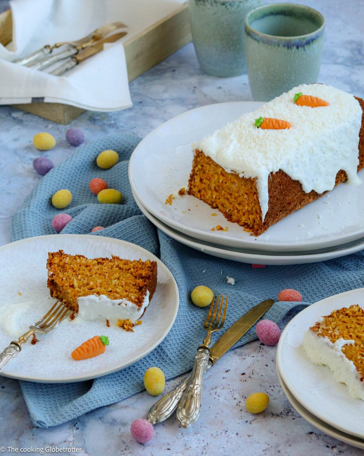 Recipe for coconut and carrots cake for your easter brunch with family healthy snack for children low sugar bake