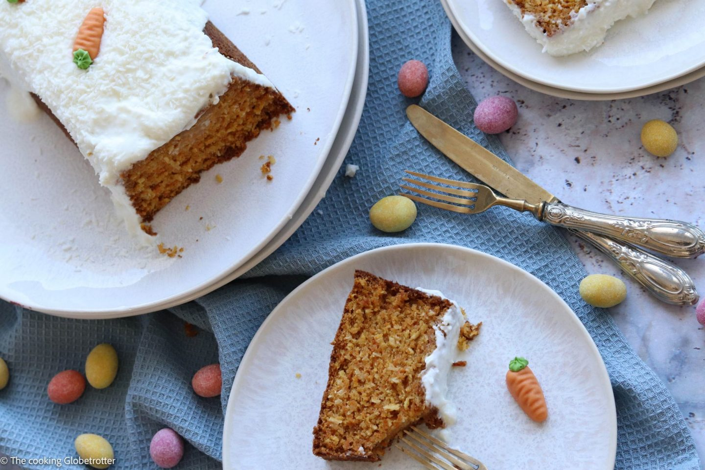 Cooked Recipe for coconut and carrots cake with yogurt cream for your easter brunch with family healthy snack for children low sugar bake