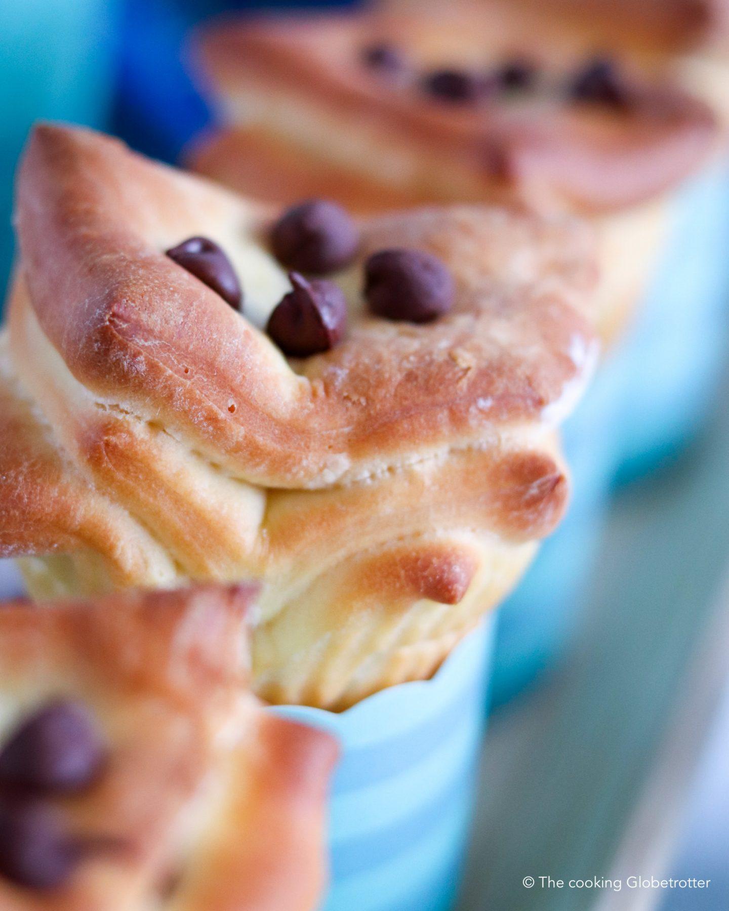 Main Zupfbrot Muffins Zucker arm mit Schokolade, einfache Hefe Teig Muffins für Kinder und di ganze Familie, backen