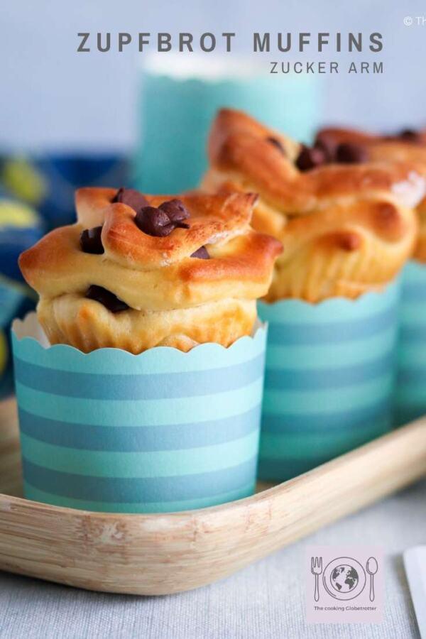 Pin Pinterest Zupfbrot Muffins Zucker arm mit Schokolade, einfache Hefe Teig Muffins für Kinder und di ganze Familie, backen
