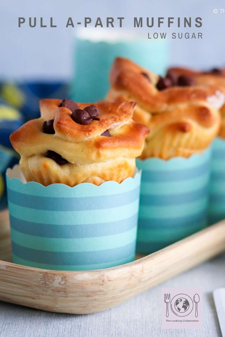 Pinterest Pin Belma's pull-apart muffins with chocolate chips, the perfect snack for hungry children and parents