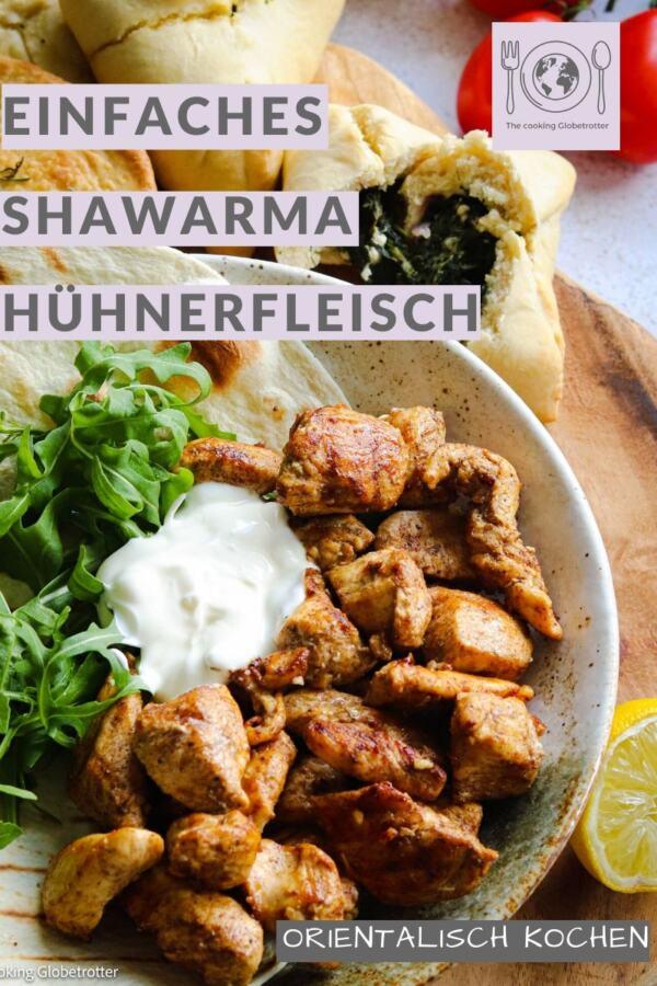 Pin Pinterest Shawarma ist ein traditionelles israelisches Street Food, das aus Fleisch (Huhn) besteht und gerne mit Fladenbrot, Salat und Joghurt serviert wird