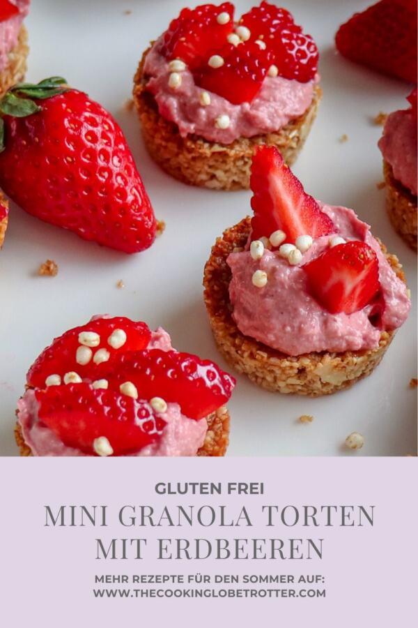 Ein einfaches Rezept für gesunde Granola Törtchen mit leckerer und leichter Skyr-Erdbeer Mousse, perfekt für heisse Sommer Tage!