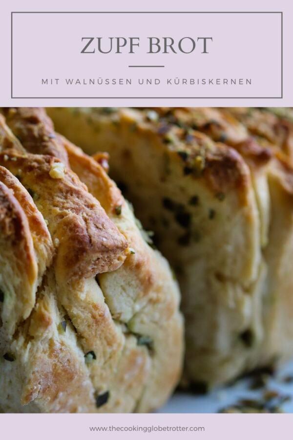 Steirisches Zupfbrot Rezept - Hefeteig Faltenbrot gefüllt mit steirischen Walnüssen und Kürbiskernen, ideal im Sommer bei einer Grillerei