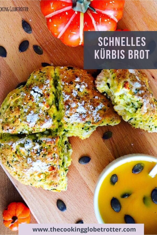 Pinterest Pin zum Blog Beitrag von The cooking Globetrotter mit Herbst Rezept Schnelles Kürbis Brot mit Feta und Spinat
