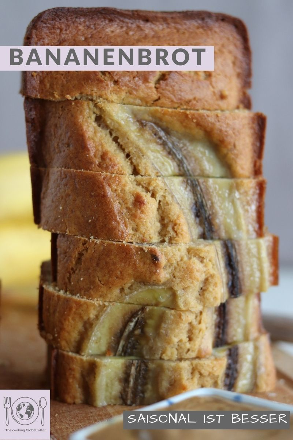 Pin für Pinterest mit Bild vonBananenbrot, gestapelt. Aus dem Blog The cooking Globetrotter. Rezept für das beste Bananenbrot, exotisch, saftig, einfach. Ein Klassiker aus Amerika