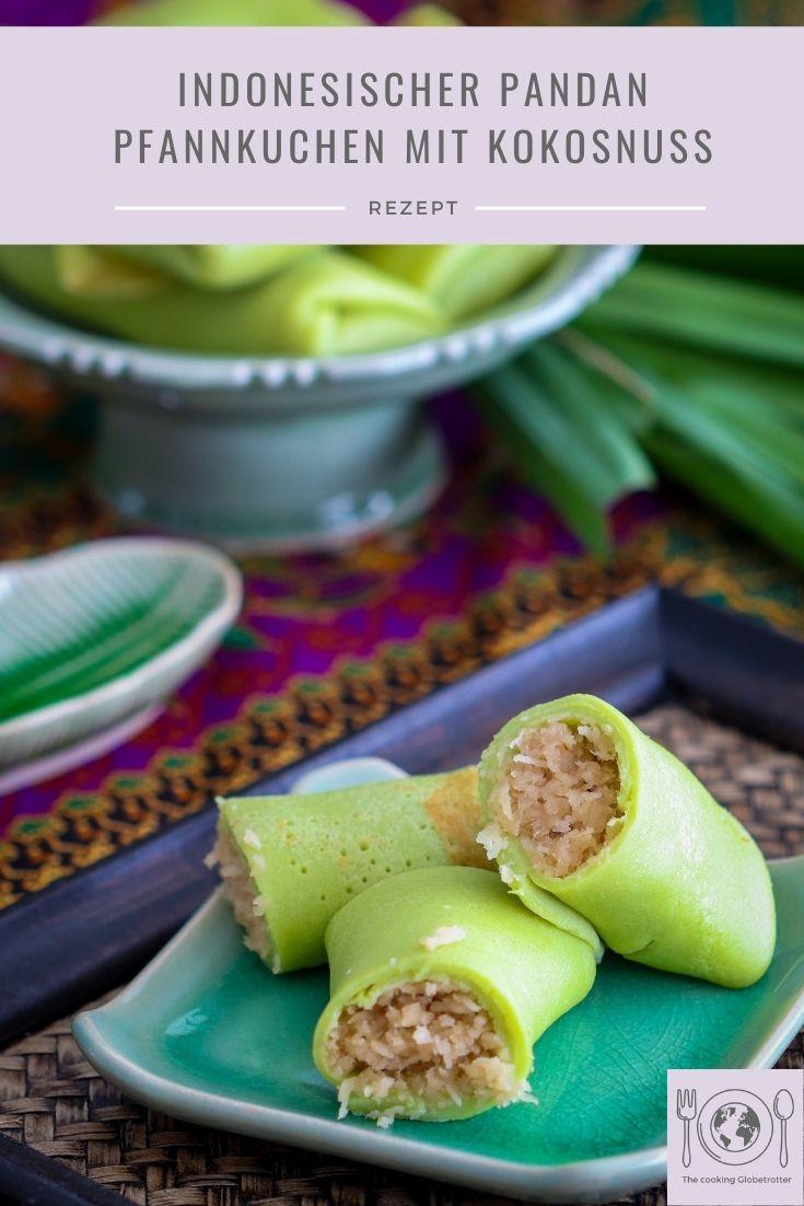 Pinterest Bild von Dadar Gulung, ein indonesischer Pandan Pfannkuchen mit süßer Kokosnuss Füllung