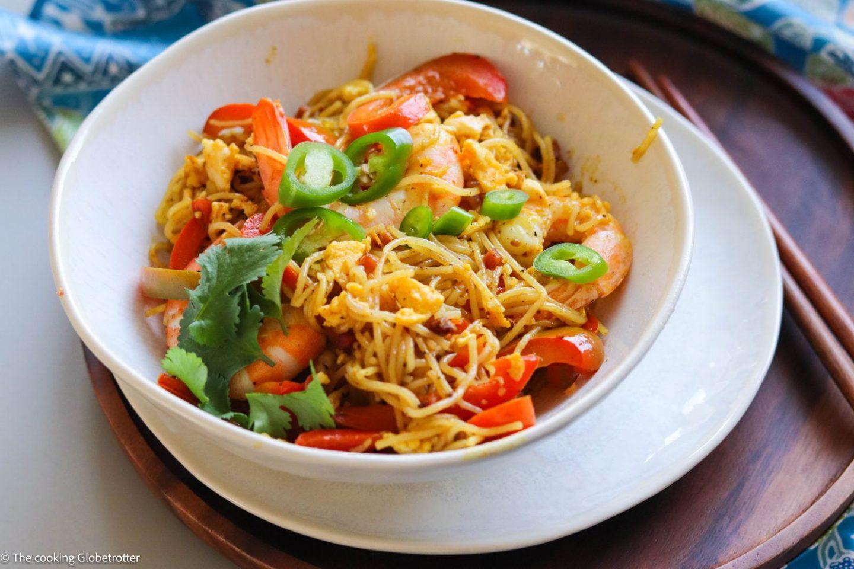 Mei Fun - Singapur gebratene Reis Nudeln Rezept von The cooking Globetrotter
